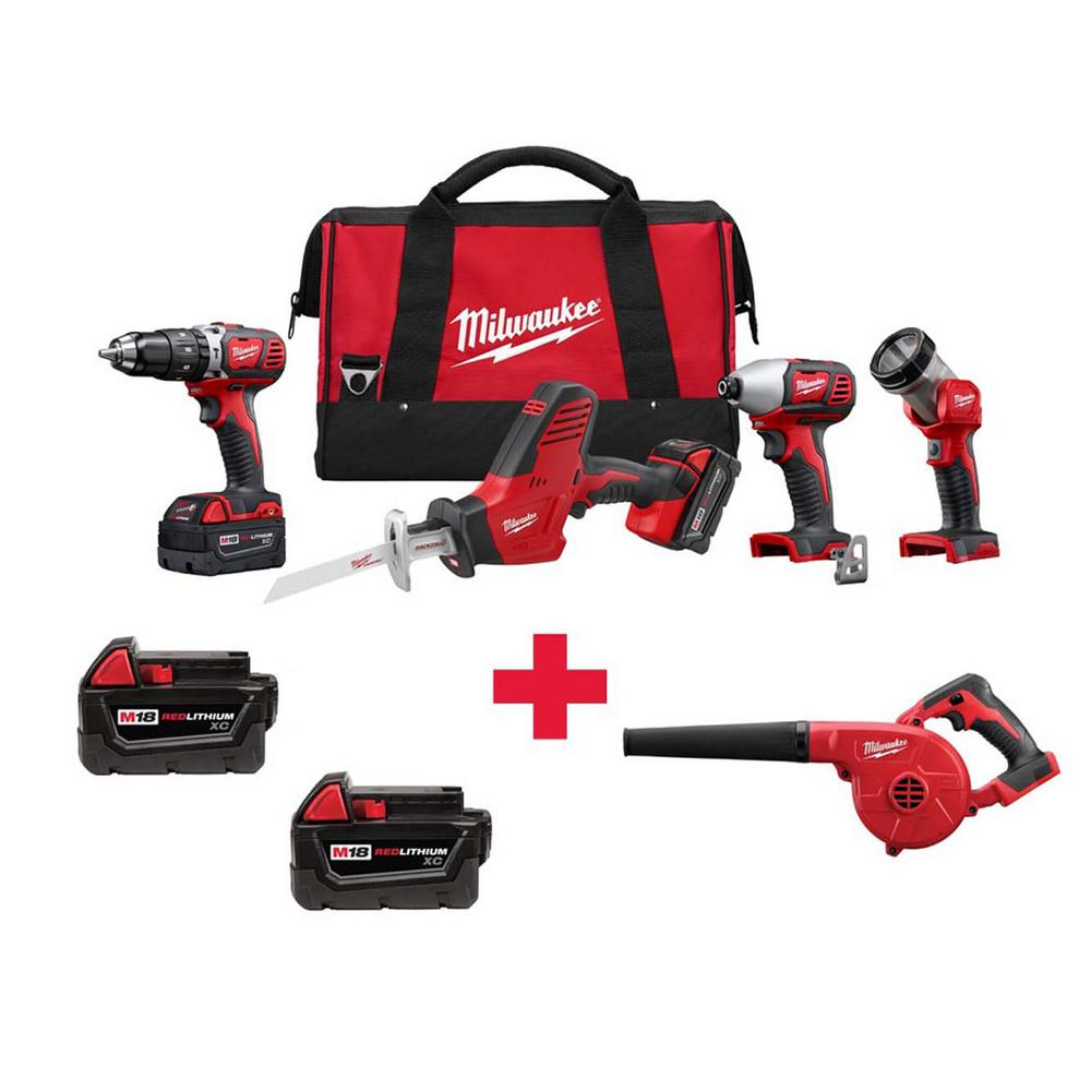 M18 18-Volt Lithium-Ion Cordless Combo Kit (4-Tool) with Free M18 Blower