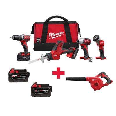 M18 18-Volt Lithium-Ion Cordless Combo Kit (4-Tool) with Free M18 Blower and M18 3.0AH Batteries (2-Pack)