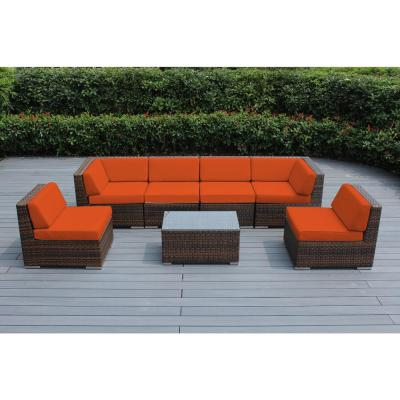 Ohana Mixed Brown 7-Piece Wicker Patio Seating Set with Sunbrella Tuscan Cushions