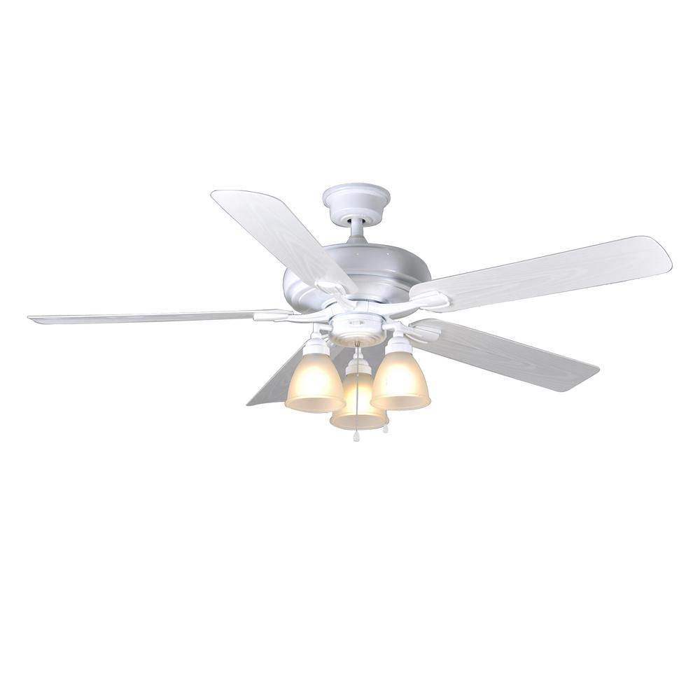 Home Decorators Collection Trentino Ii 60 In Indoor Outdoor White Ceiling Fan With Light Kit