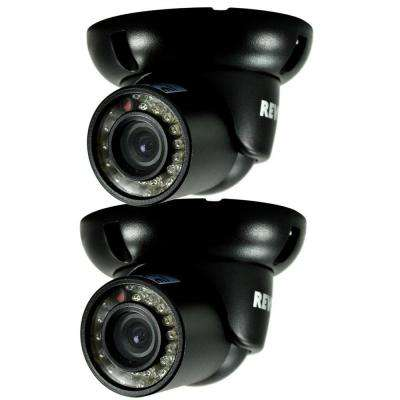 Wired 700 TVL Indoor/Outdoor Mini Turret Surveillance Camera with BNC Conversion Kit (2-Pack)