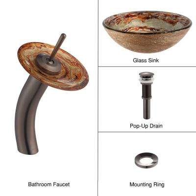 Ares Glass Vessel Sink in Gold with Single Hole Single-Handle Low-Arc Waterfall Faucet in Oil Rubbed Bronze