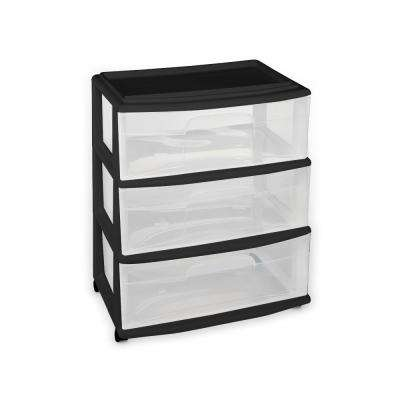 25 5 In X 15 3 Drawer Black Wide Cart With Wheels