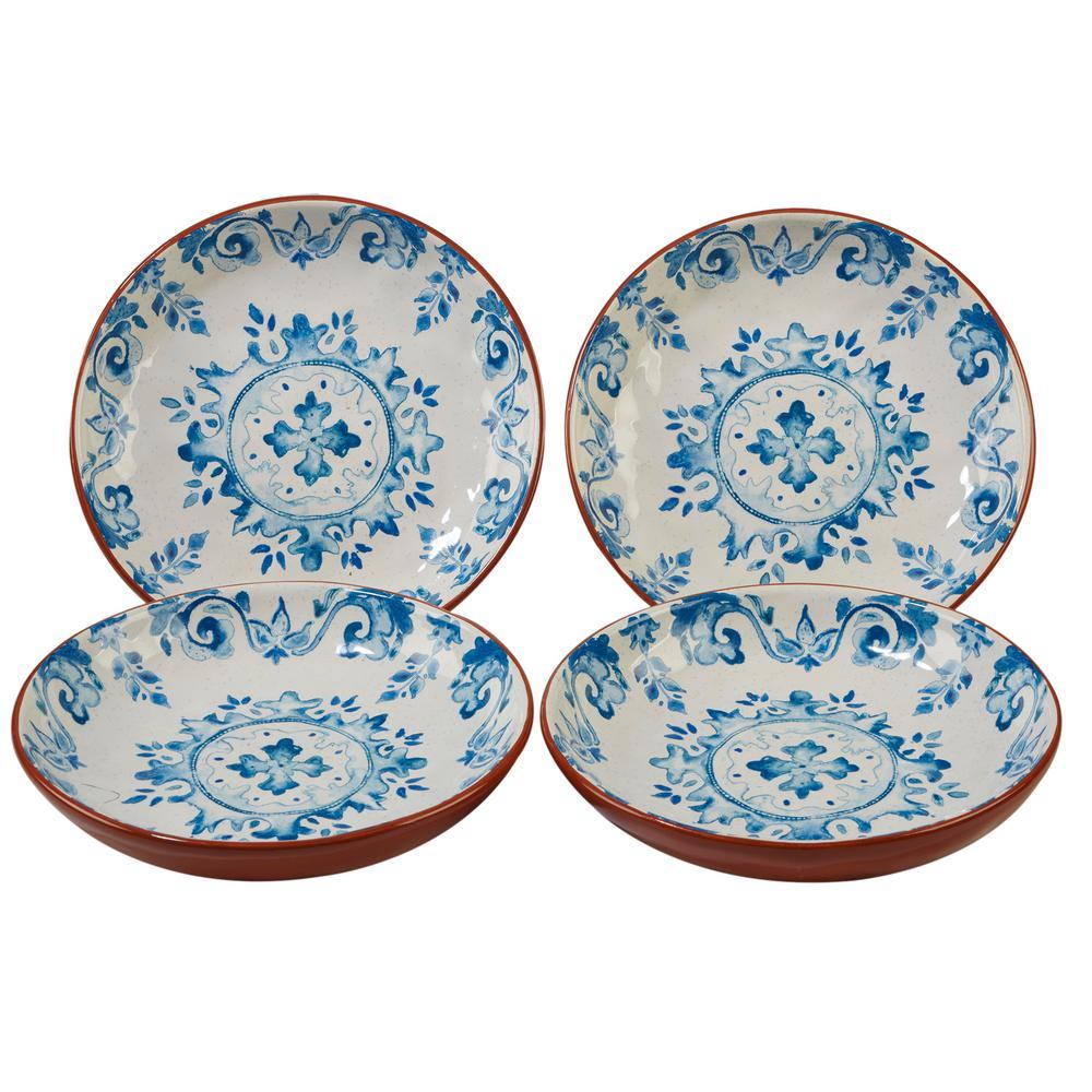 Porto 4-Piece Multi-Colored 8.5 in. x 1.5 in. Soup/Pasta Bowl Set