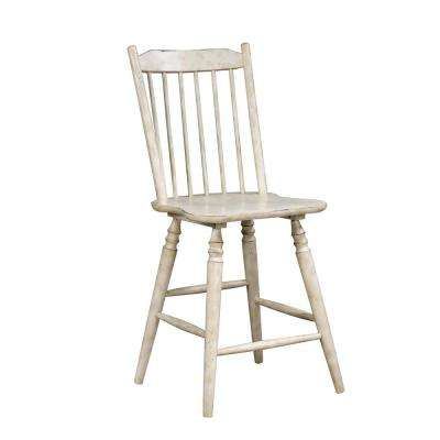 Dessie Antique White Wood Slat Counter Height Chair (Set of 2)