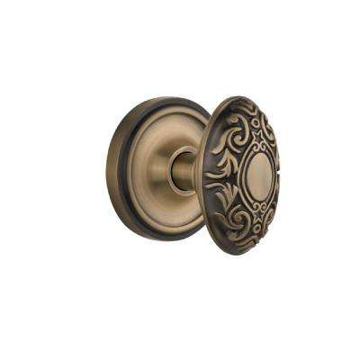 Classic Rosette 2-3/8 in. Backset Antique Brass Passage Hall/Closet Victorian Door Knob