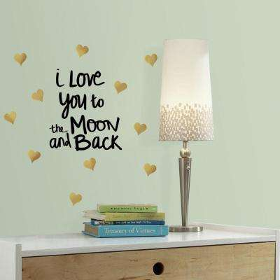 5 in. W x 11.5 in. H Love You to the Moon Quote 11-Piece Peel and Stick Wall Decal