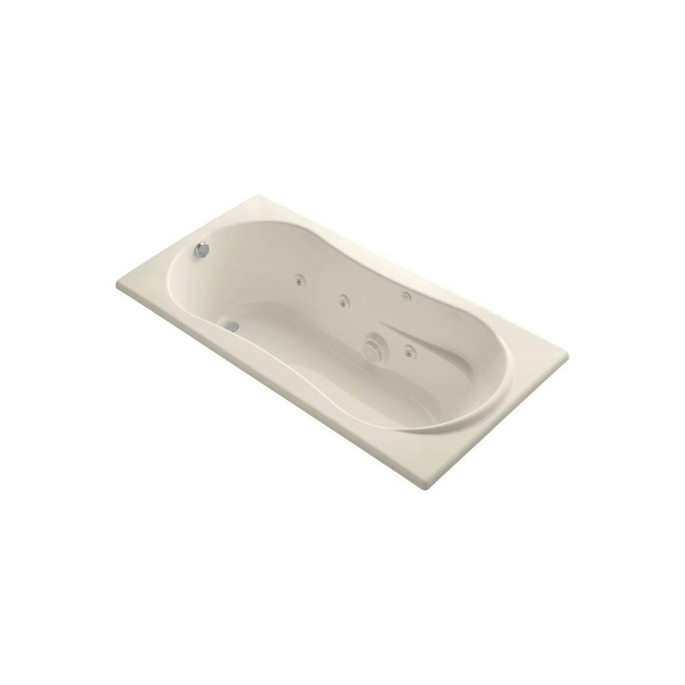 KOHLER ProFlex 6 ft. Rectangular Drop-in Whirlpool Bath Tub in Almond
