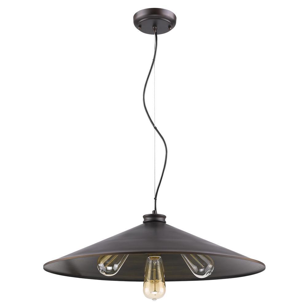 Alcove 4-Light Oil-Rubbed Bronze Pendant with Raw Brass Interior Shade