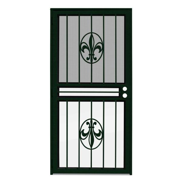 30 in. x 80 in. Fleur de Lis Forest Green Recessed Mount All Season Security Door with Insect Screen and Glass Inserts