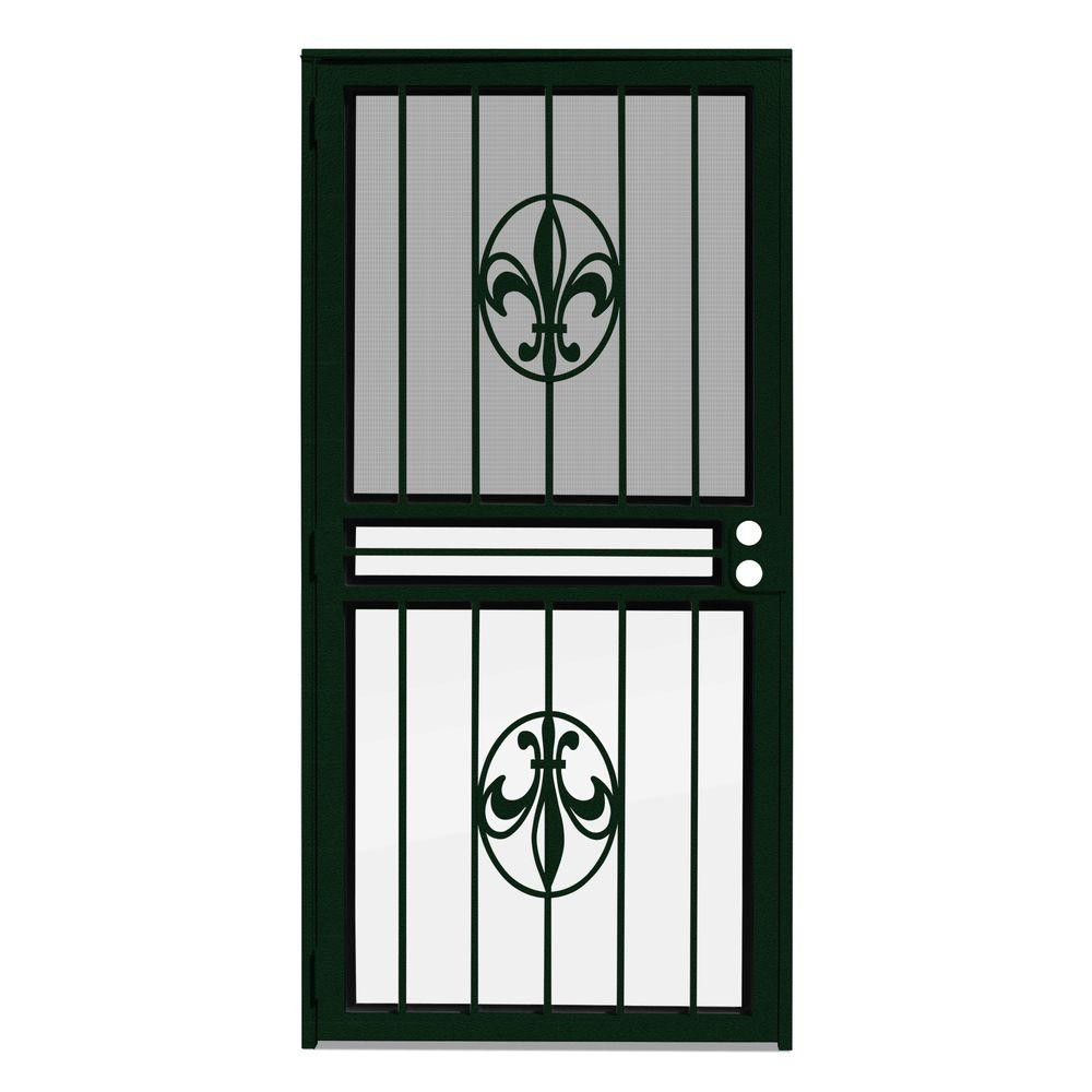 30 in. x 80 in. Fleur de Lis Forest Green Recessed