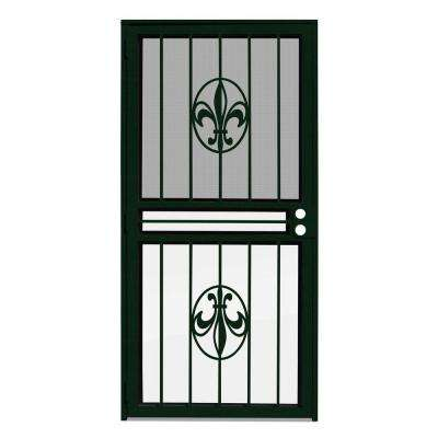 36 in. x 80 in. Fleur de Lis Forest Green Recessed Mount All Season Security Door with Insect Screen and Glass Inserts