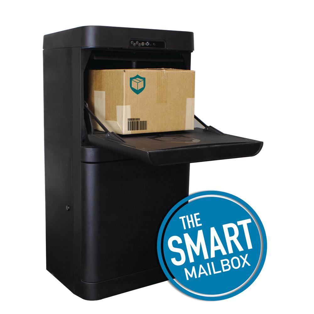 Black Floor Mount Smart Parcel Security Mailbox