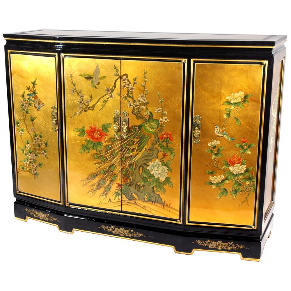 Oriental Furniture Gold Leaf Slant Front Cabinet
