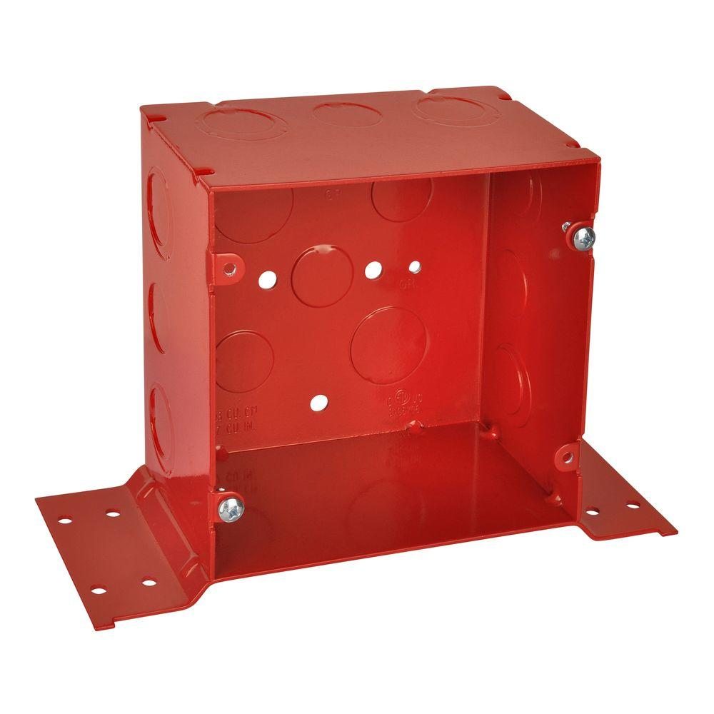 5 in. Red Steel Square Box with Knockouts and CV Bracket
