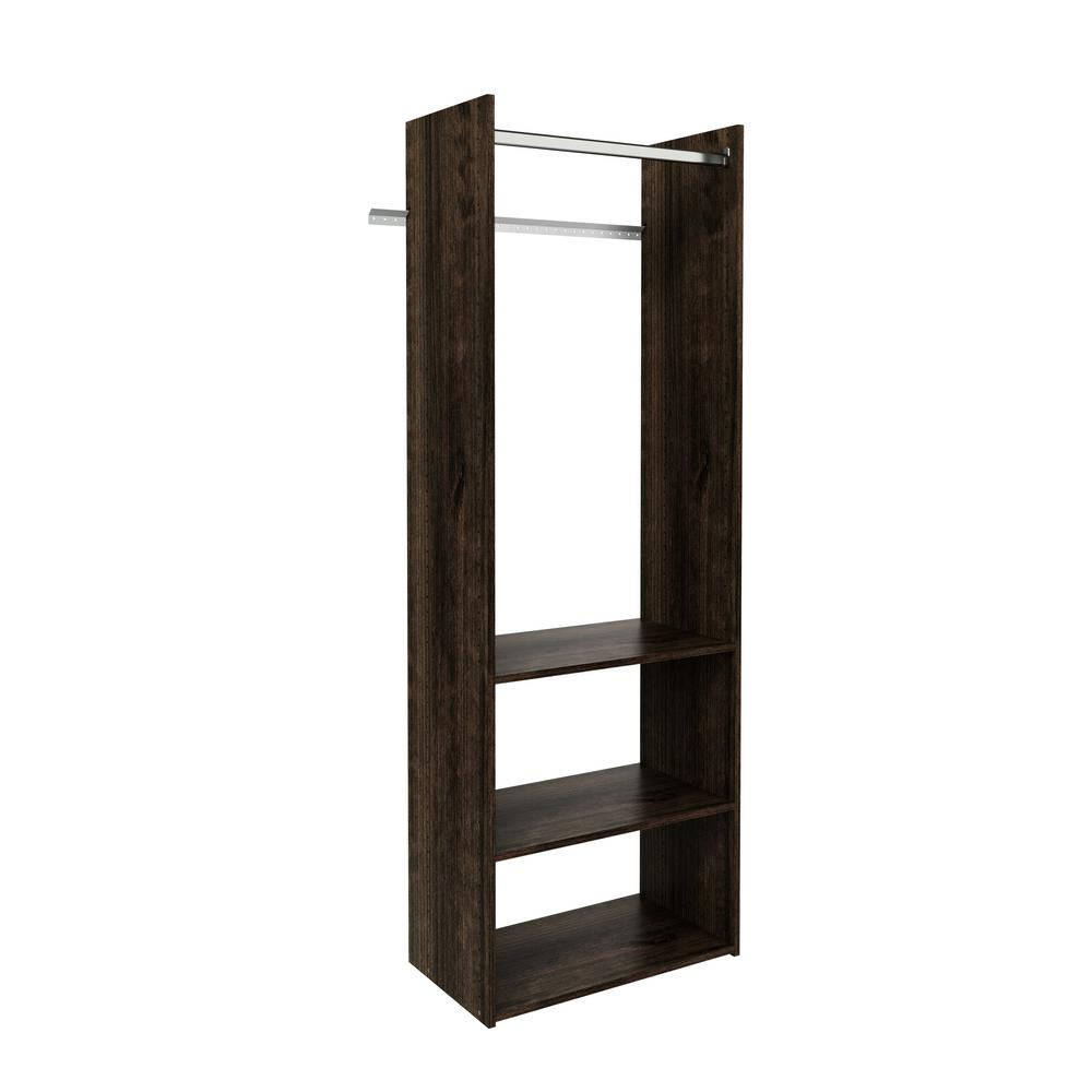 ClosetEvolution Closet Evolution 14 in. D x 25.125 in. W x 72 in. H Espresso Wood Closet System, Brown