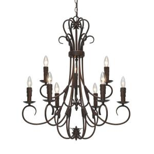 Homestead Collection 9-Light Rubbed Bronze 2-Tier Chandelier