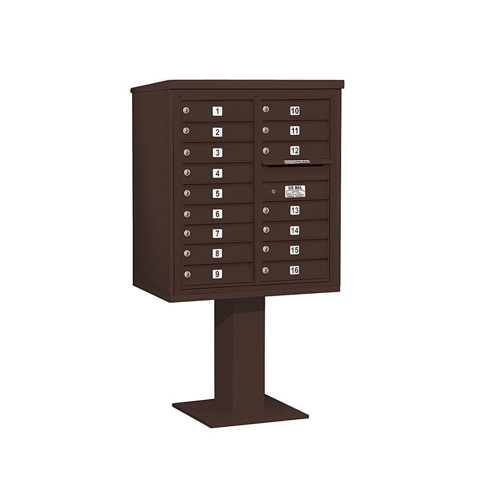 3400 Series Bronze Mount 4C Pedestal Mailbox with 16 MB1 Doors
