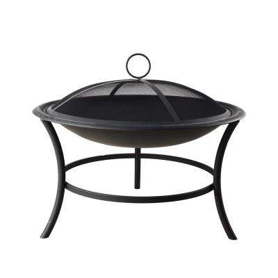 29.3 in. x 16.5 in. Round Steel Wood Burning Fire Pit Kit in Black with Spark Screen