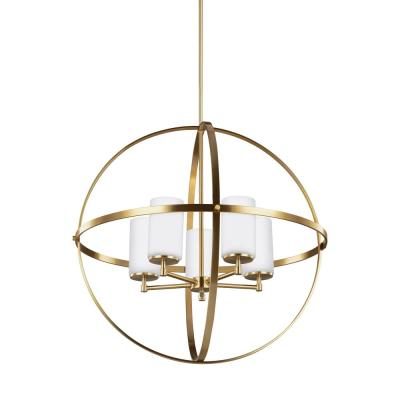 Alturas 27.25 in. W 5-Light Satin Brass Single Tier Chandelier with Etched White Glass