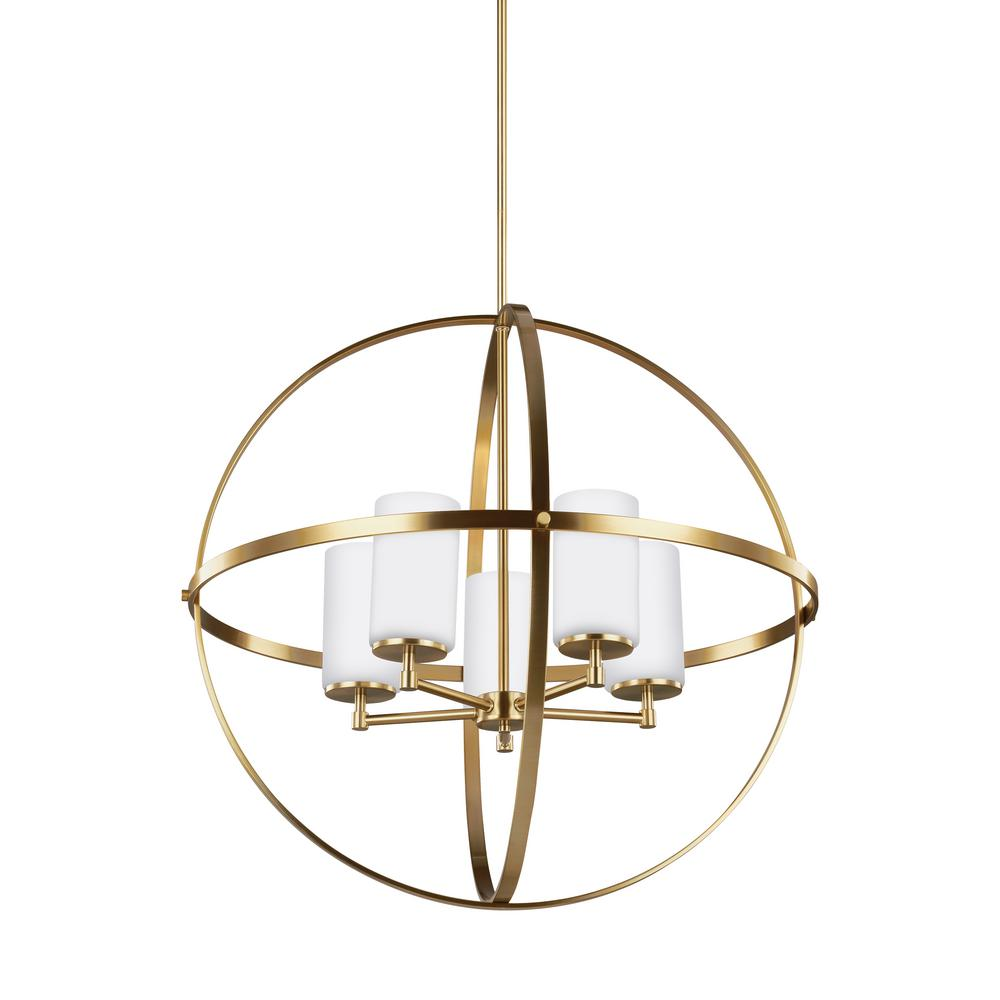 Sea Gull Lighting Alturas 27.25 in. W 5-Light Satin Bronze Single Tier Chandelier with Etched White Glass