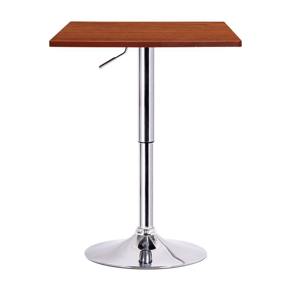BORAAM Luta Walnut and Chrome Adjustable Pub/Bar Table, W...