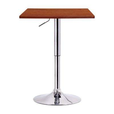 Luta Walnut and Chrome Adjustable Pub/Bar Table