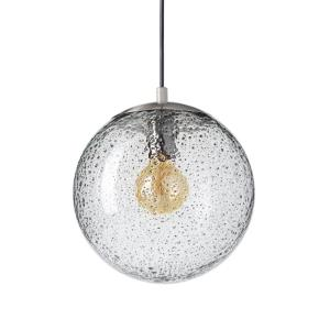 10 in. W x 10 in. H 1-Light Nickel Rustic Seeded Hand Blown Glass Pendant Light with Clear Glass Shade