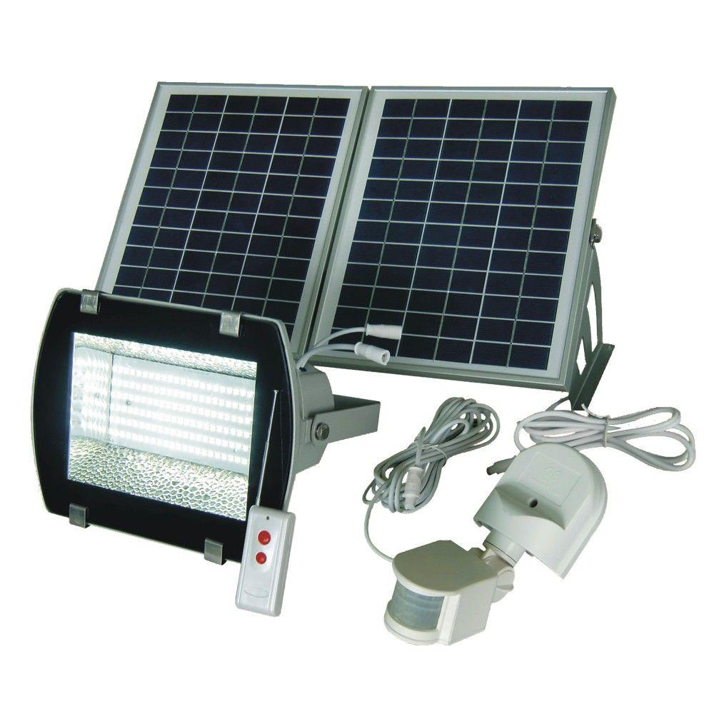 Solar 50 Ft Range White Grey 156 Smd Led Outdoor Flood Light With Optional Motion Pir