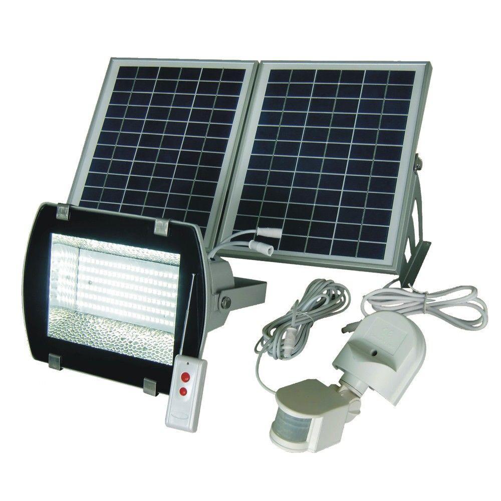 Industrial Solar 50 ft. Range White/Grey 156-SMD/LED Outdoor Flood Light with Optional Motion PIR