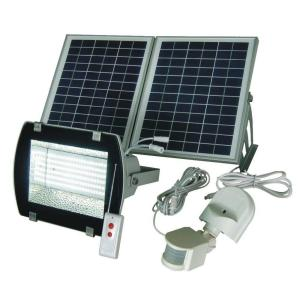 Solar Goes Green Industrial Solar 50 ft. Range White/Grey 156-SMD/LED Outdoor Flood Light with Optional Motion PIR by Solar Goes Green