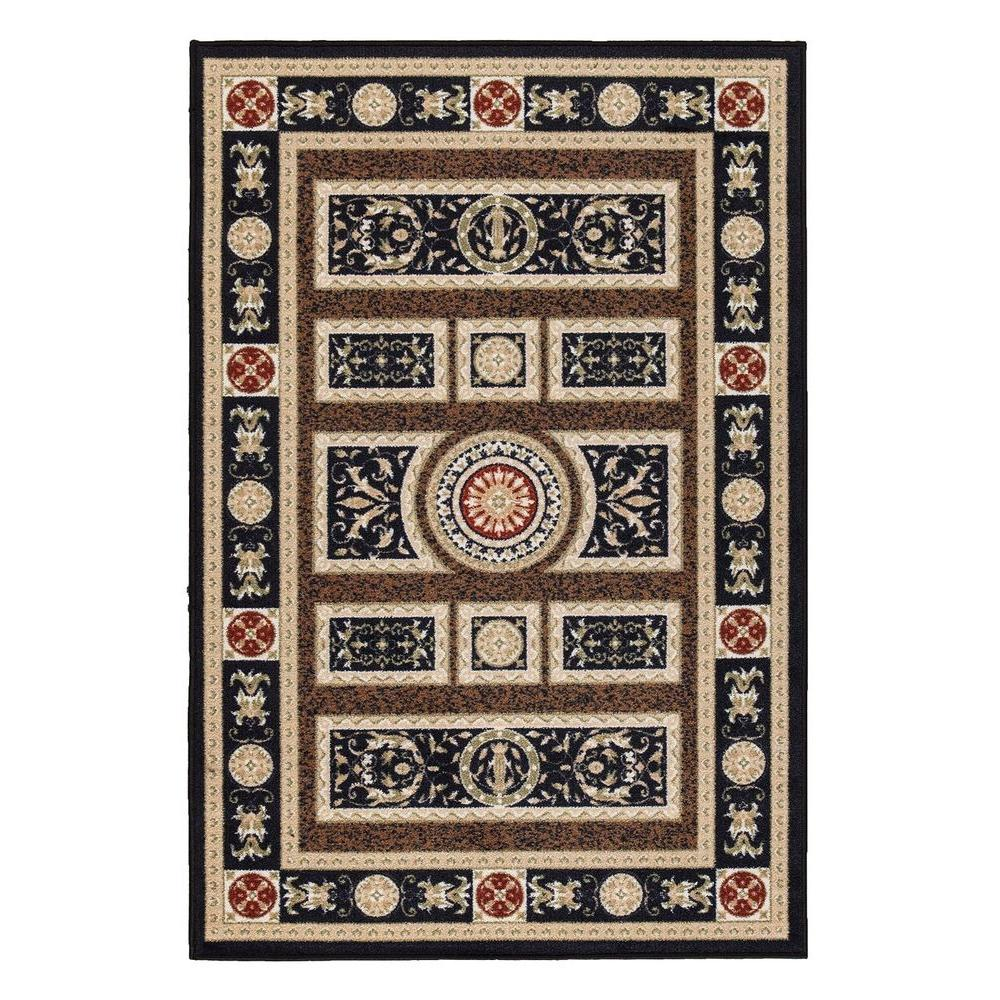 Ottomanson Prestige Collection Traditional European Design Navy Blue 3 ft. 3 in. x 5 ft. Area Rug