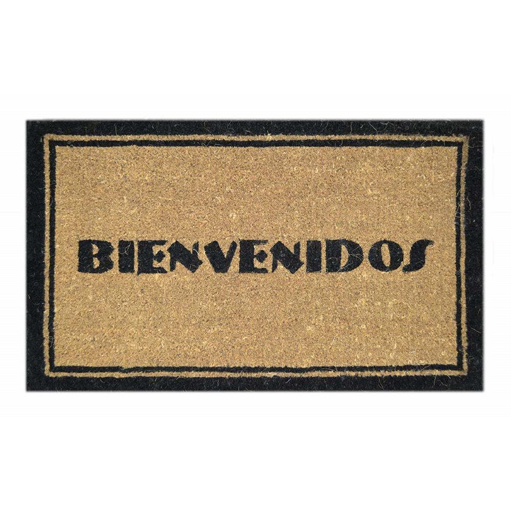 Basic Coir, Bienvenidos, 30 in. x 18 in. Coconut Husk Door Mat
