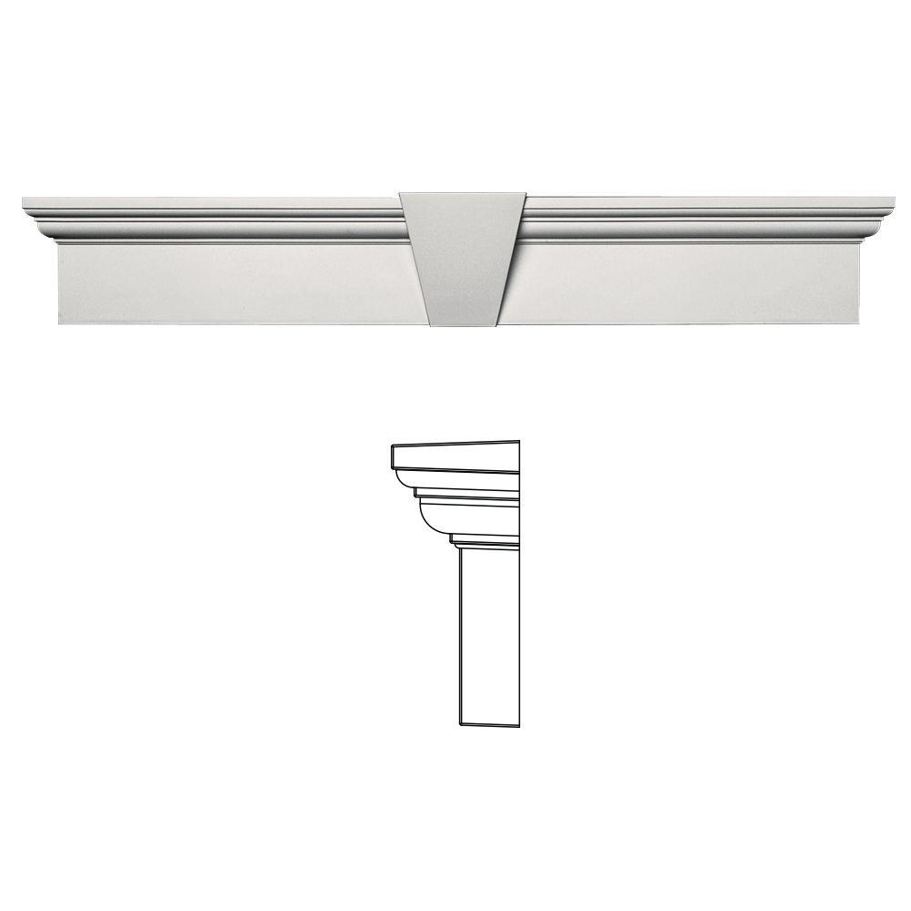 Builders Edge 6 in. x 37-5/8 in. Flat Panel Window Header with Keystone in 030 Paintable