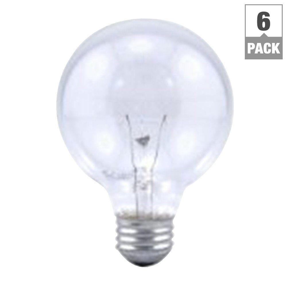 Sylvania 40 Watt Incandescent G25 Clear Globe Light Bulb 6 Pack 14191 0 The Home Depot