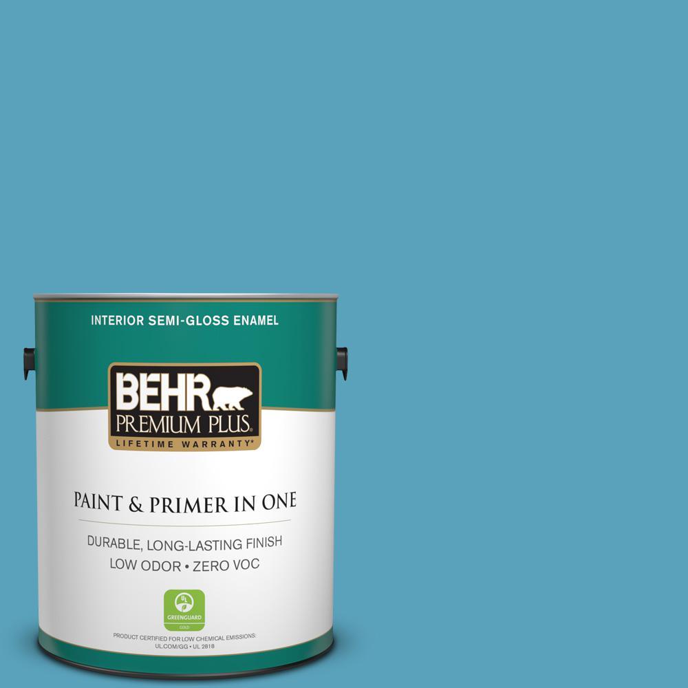 1-gal. #540D-5 Tropical Splash Zero VOC Semi-Gloss Enamel Interior Paint