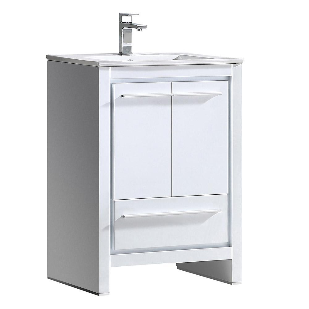 Fresca Allier 24 in. Bath Vanity in White with Ceramic Vanity Top in White with White Basin