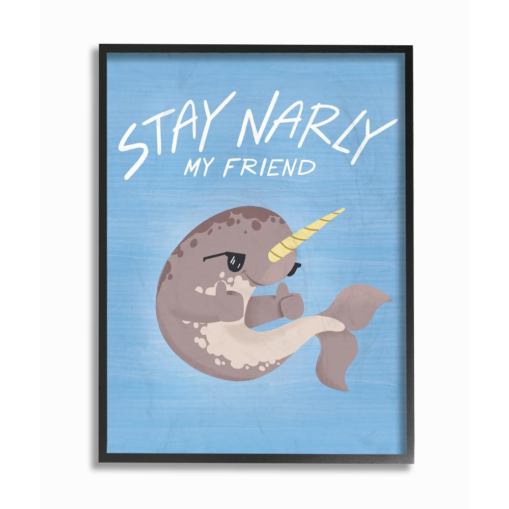 "11 in. x 14 in. ""Stay Narly Narwhal Fun Sunglasses Blue"""