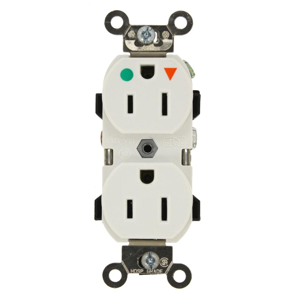 15 Amp Hospital Grade Extra Heavy Duty Isolated Ground Duplex Outlet,