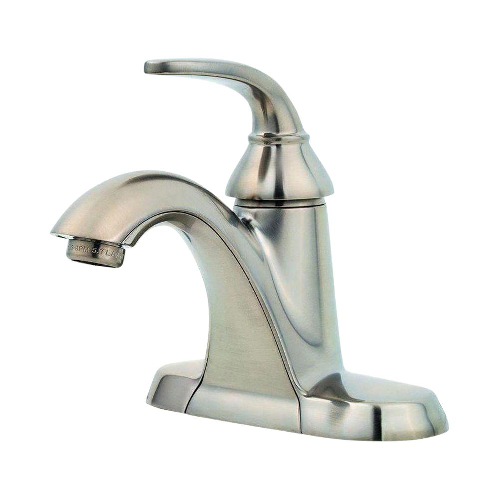 Pfister Pasadena 4 in. Centerset Single-Handle Bathroom Faucet in Brushed  Nickel