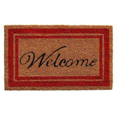 Red Border Welcome Door Mat 18 in. x 30 in.