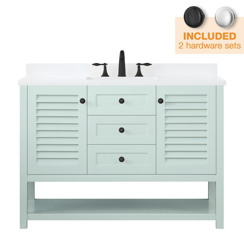 Home Decorators Collection Grace 48 in. W x 22 in. D Bath Vanity in Minty Latte with Cultured Stone Vanity Top in White with White Basin