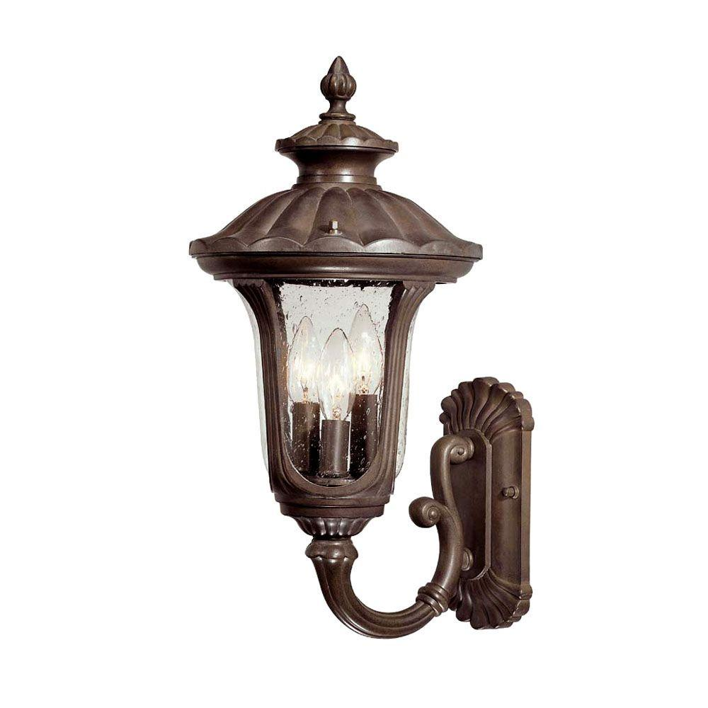 Augusta Collection Wall-Mount 3-Light Outdoor Burled Walnut Light Fixture