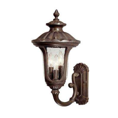 Augusta Collection Wall-Mount 3-Light Outdoor Burled Walnut Wall Lantern Sconce