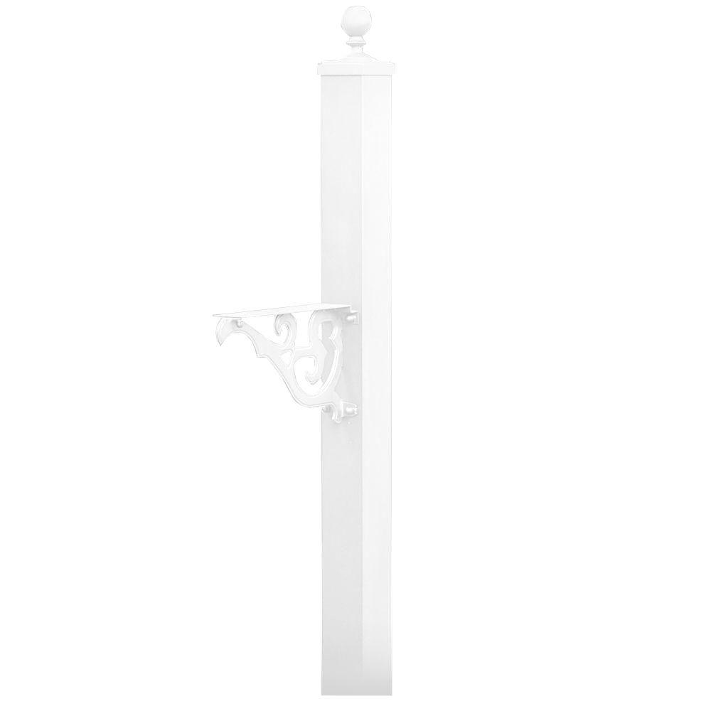 Victorian In-Ground Mounted Decorative Mailbox Post in White