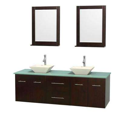 Centra 72 in. Double Vanity in Espresso with Glass Vanity Top in Green, Bone Porcelain Sinks and 24 in. Mirrors