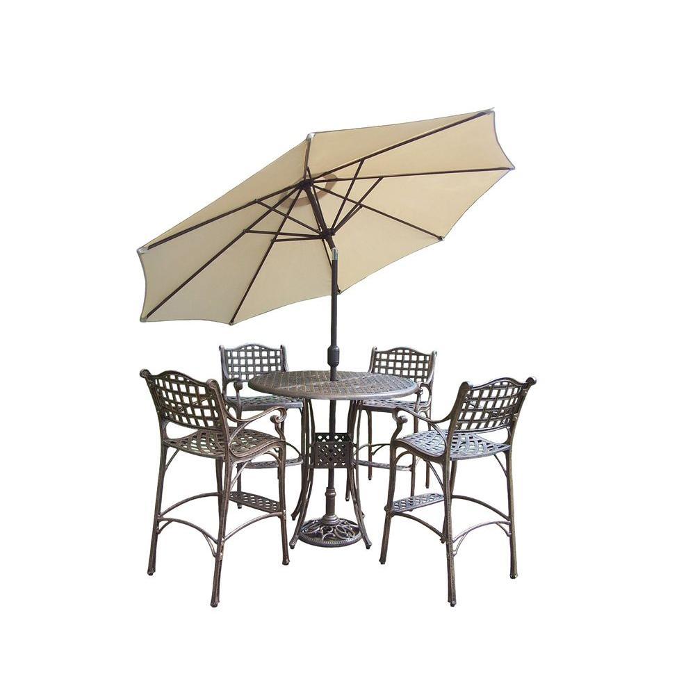 Oakland Living Elite 5-Piece Patio Bar Set with 2-Piece Umbrella Set