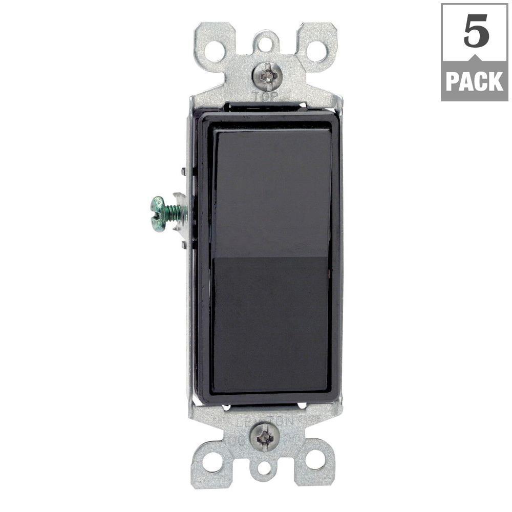 Decora 15 Amp 3-Way Switch, Black (5-Pack)