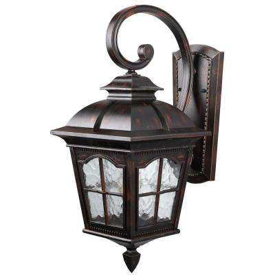 Madison 1-Light Rustic Bronze Outdoor Wall Lantern with Watermark Glass
