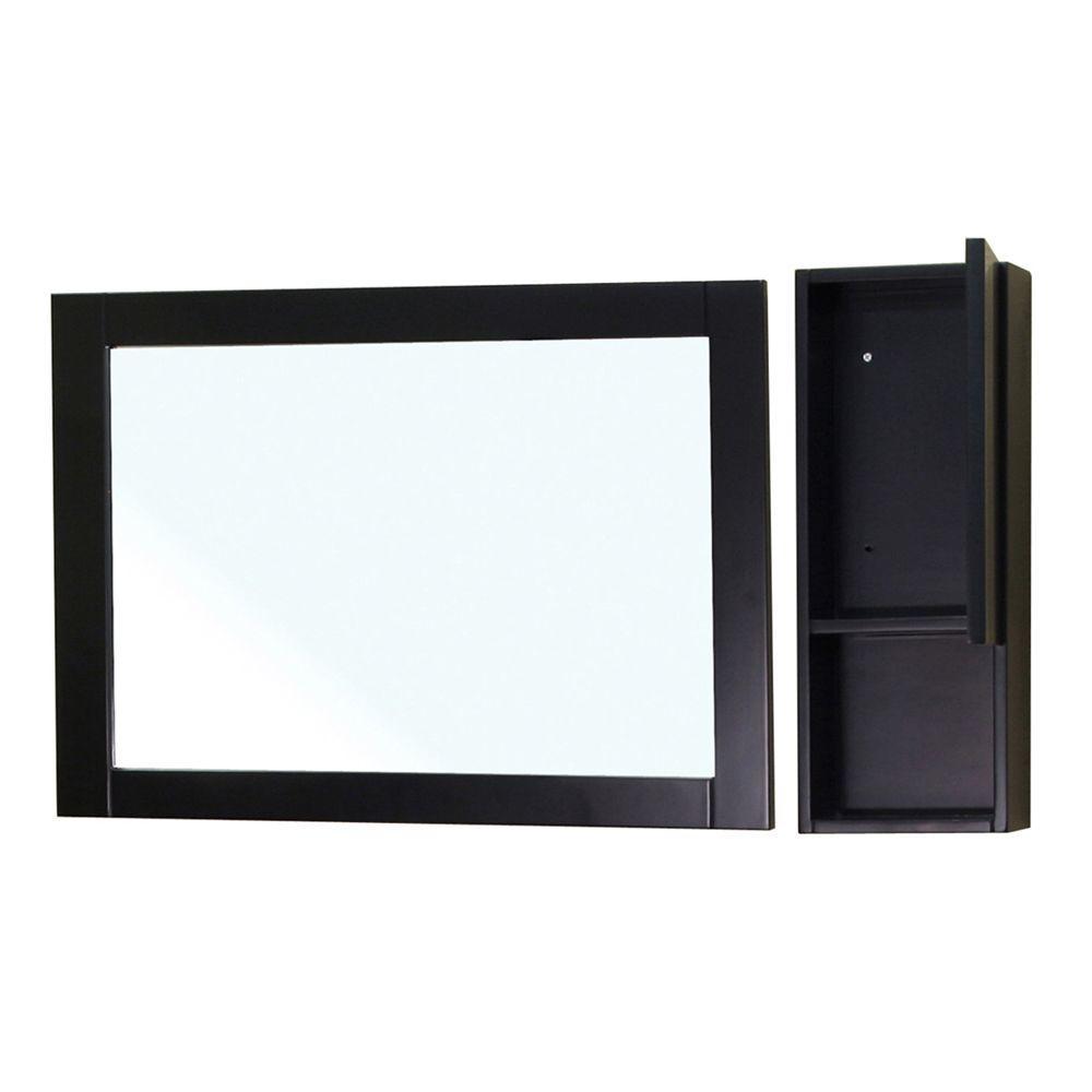 Bellaterra Home Limerick 24 in. L x 31 in. W Wall Mirror Side Cabinet in Black